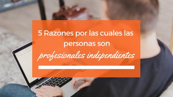 5 razones por las cuales las personas son profesionales independientes